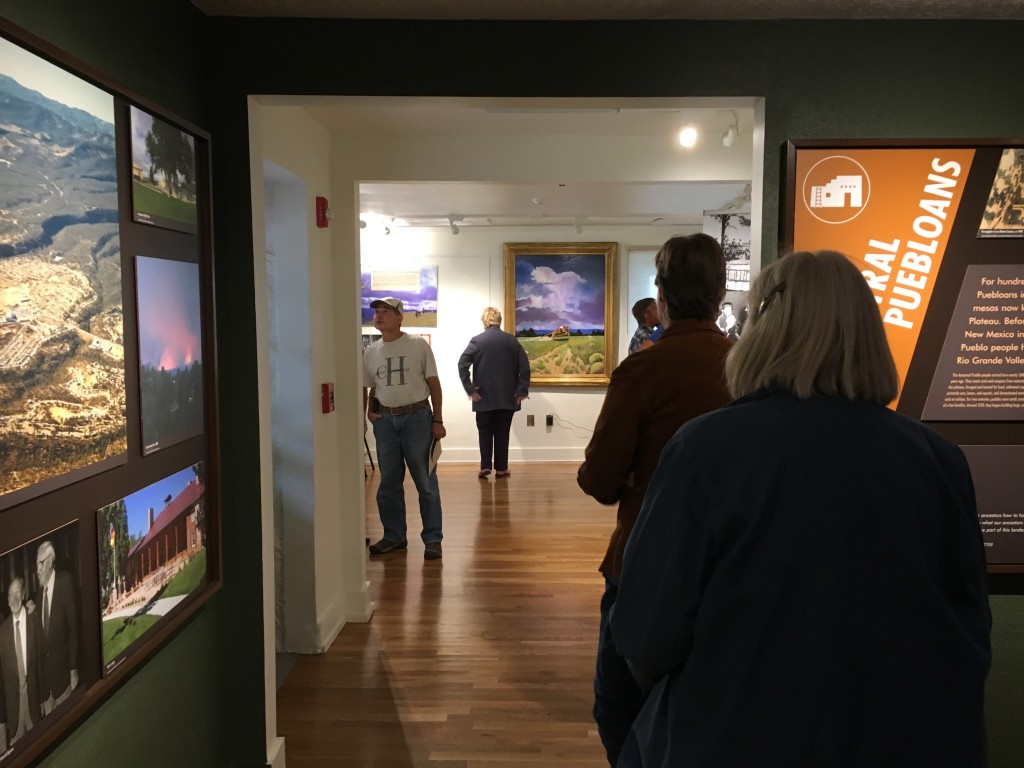 "Inside Los Alamos Historical Museum with ""Los Alamos Before the Storm"" straight ahead."